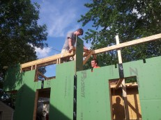 Sheathing the gables of the dormer loft