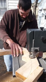 Cutting the trim with the bandsaw