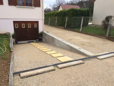 Mur de soutènement pour descente de garage Béton Block