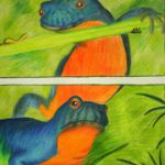 Colored Pencil Rendering of Newts by Steven Walker.