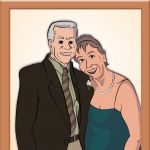 Digital Rendering of Gertie with her late husband by Steven Walker using Photoshop and Illustrator.