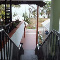 Desaru Damai Beach Resort staircase to swimming pool & beach