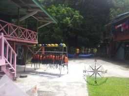 Sabah Padas White Water Rafting Centre neatly arranged Life Vest and helmet