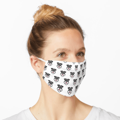 Face mask - silver and black schnauzer - white background