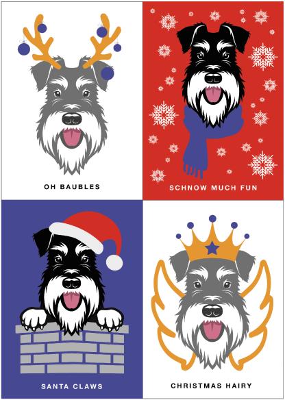 Schnauzer Christmas cards - 4 designs