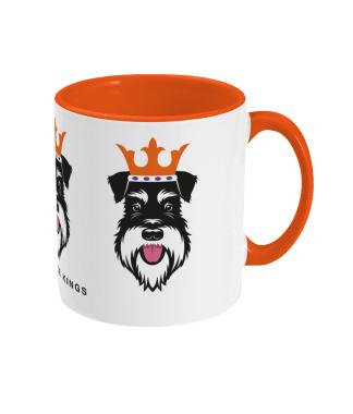 Christmas mug with Silver & Black schnauzer face kings - right