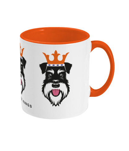 Christmas mug with Silver & Black schnauzer face kings - right