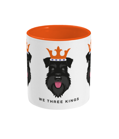 Christmas mug with All Black schnauzer face kings - centre