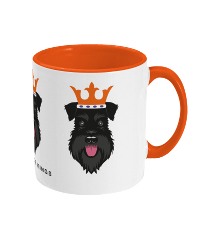 Christmas mug with All Black schnauzer face kings - right