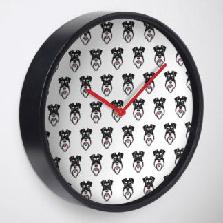 Clock with silver and black schnauzer repeat pattern on white