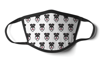 face mask silver and black schnauzer on white