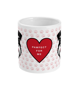 valentine mug pawfect for me silver and black front view