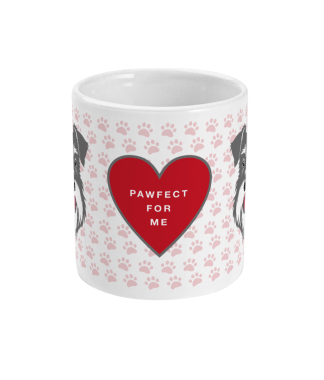 valentine mug pawfect for me salt and pepper front view