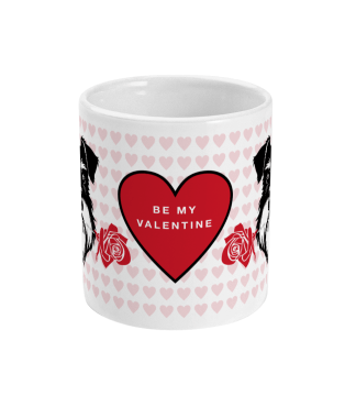 valentine mug silver and black be my valentine front view
