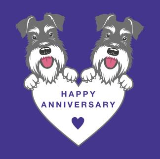 happy anniversary card on purple
