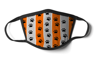 face mask pawprint design orange and grey stripe