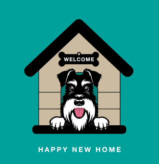 new home card silver and black schnauzer