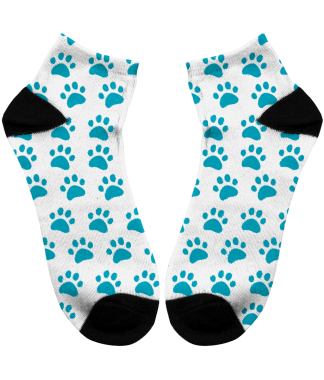 socks with blue paw print