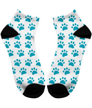 socks with blue paw print