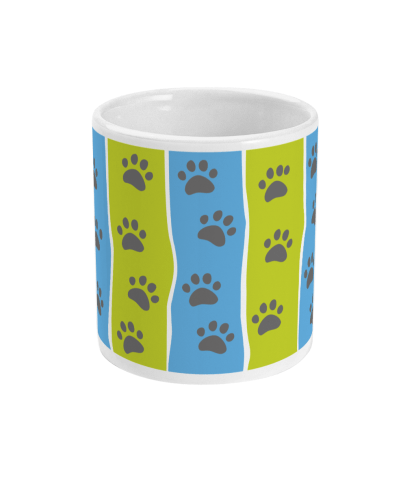 mug pawprint stripe blue and green centre view
