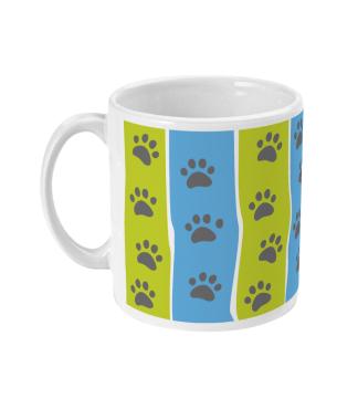 mug pawprint stripe blue and green left view
