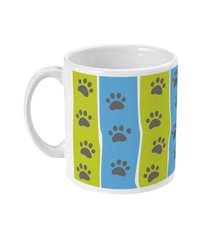 mug pawprint stripe blue and green left view
