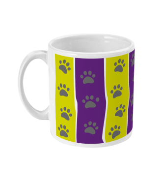 mug purple and yellow stripe left view
