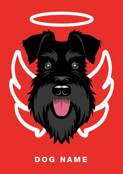 angel poster with all black schnauzer