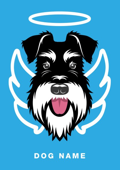 angel poster with silver and black schnauzer