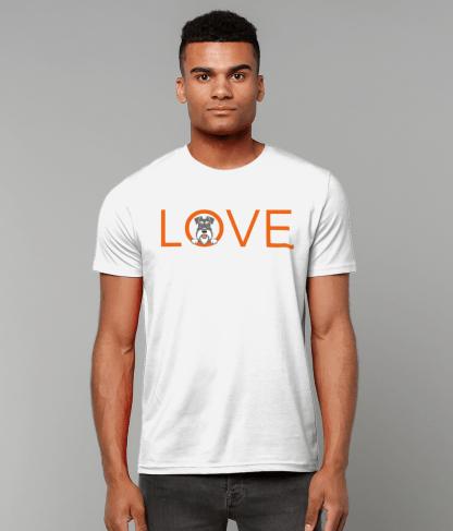 White T-shirt orange letters salt and pepper dog male model 2