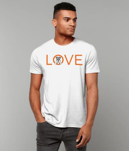 White T-shirt orange letters salt and pepper dog male model 1
