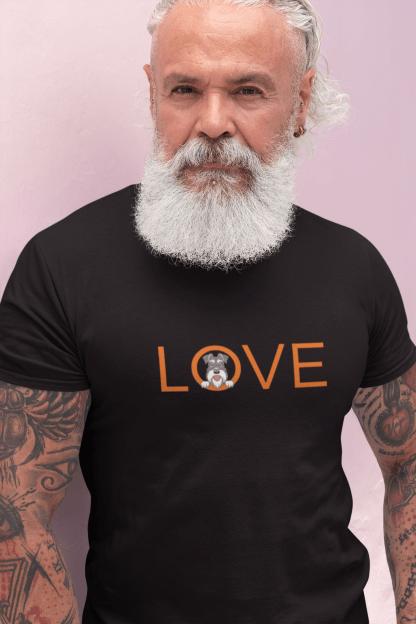 black t-shirt older male model 2