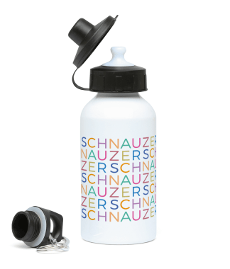 water bottle multicoloured schnauzer letters view 2