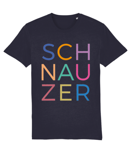 Navy T-shirt multicoloured letters flat on