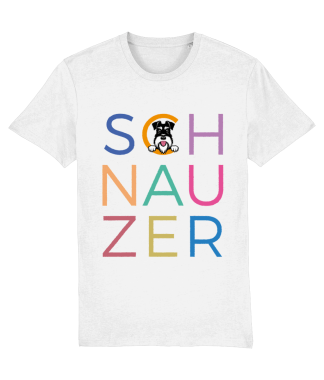 White T-shirt multicoloured letters silver and black dog flat on