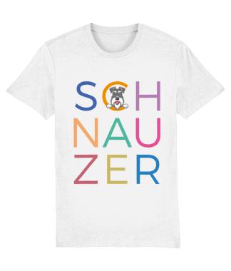 White T-shirt multicoloured letters salt and pepper dog flat on