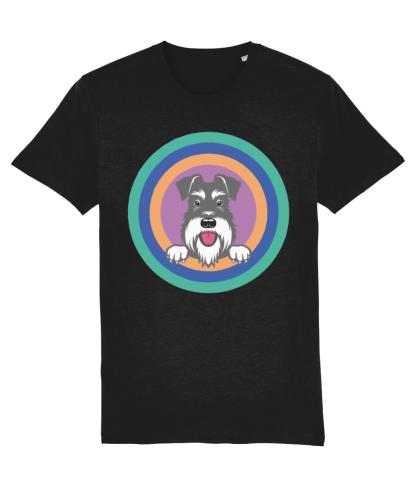 black t-shirt salt and pepper dog target design in aqua front view