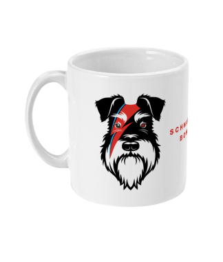 bowie mug silver and black dog left view