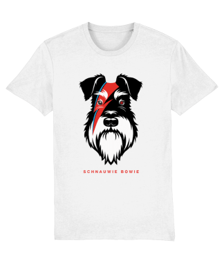 white t-shirt silver and black dog bowie flash front view