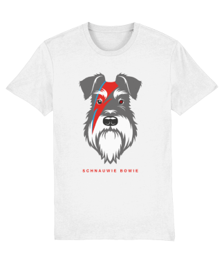 white t-shirt salt and pepper dog bowie flash front view