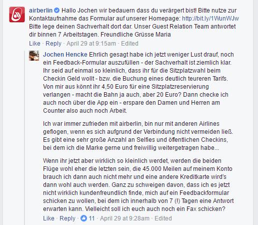 Antwort von Airberlin auf Facebook