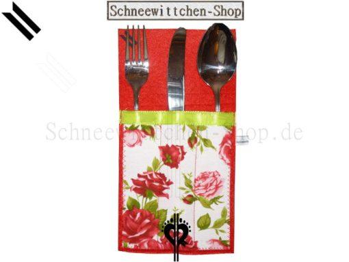 Bestecktaschen Set in rot mit Rosen für 6 Personen