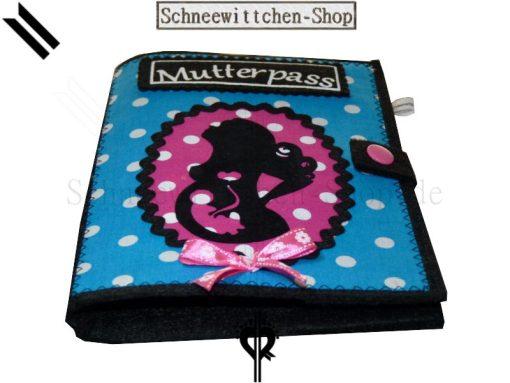 Mutterpasshüllen II Mutter mit Locken und Kind blau-pink