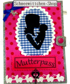 Schwangerschaft Mutterpass Hülle mit Kind in rosa mit Anhänger