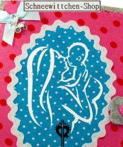 Schwangerschaft Mutterpass Hülle mit Kind in rosa mit Kinderwagen-Anhänger