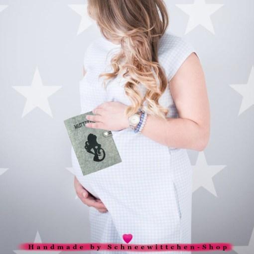 Classic Mutterpasshülle aus Filz für den deutschen Mutterpass mit Herz Tasche für das Ultraschallbild