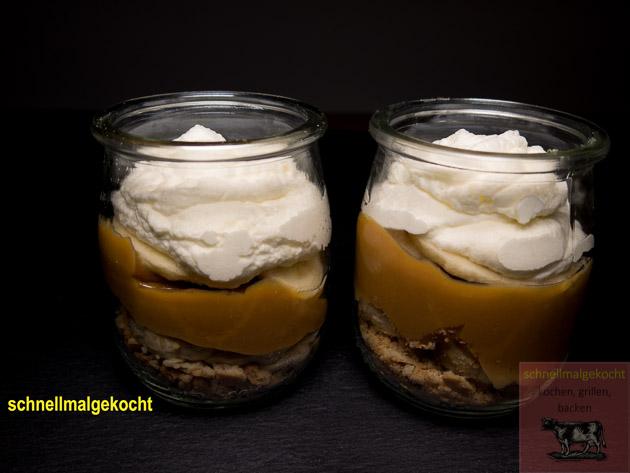 Dessert Dulce De Leche Bananen Sahne Kekse
