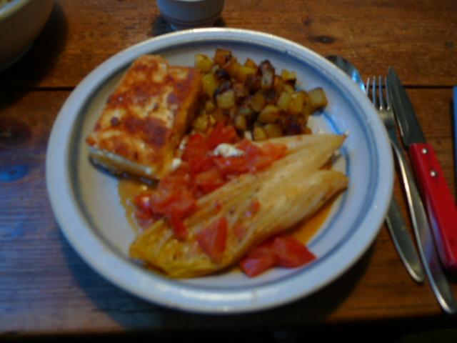 Chicoree,Kartoffeln,gebackener Feta (1)