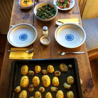 14.1.16 - Rosmarinkartoffeln,Champignon,Baba Ganousch,Avocado,Joghurtspeise (10)