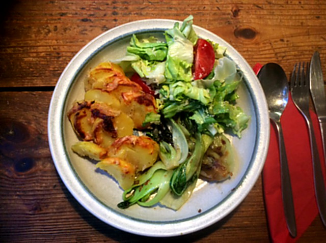 8.1.16 - Kartoffelgratin,Pak Choi,Endiviensalat,vegetarisch (15)